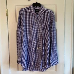 "Ledbury Gingham Spread Collar 17"" neck."